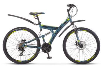 """Focus MD 27.5 21 sp V010 black green 350x228 - Велосипед Стелс (Stels) Focus MD 27.5"""" 21-sp V010 , р 19"""", цвет  Серый/жёлтый"""