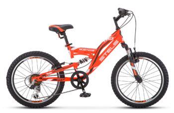 "Mustang V 20 V010 red black white 350x228 - Велосипед Стелс (Stels) Mustang V 20"" V010, Сталь , р13"", цвет Оранжевый"