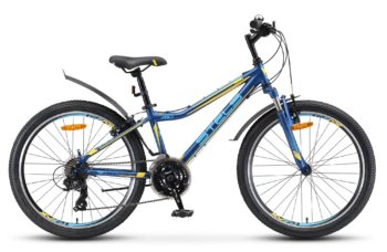 """Navigator 410 V 24 21 sp V010 matt dark blue yellow 350x228 - Велосипед Стелс (Stels) Navigator-410 V 24"""" 21-sp V010, Сталь , р13"""", цвет Чёрный/синий"""